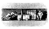 Boy pushing a truck loaded with coal, c1848