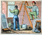 Glazier and wallpaper hanger working in a house, 1867