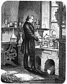 Justus von Liebig, German chemist, at work in his laboratory