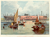 Great Eastern' on the stocks at Millwall on the Thames, 1857