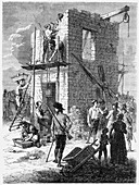 Building a Chappe telegraph station, c1793