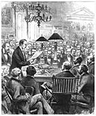 Heinrich Schliemann lecturing in London, 1877