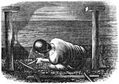 Coal miner working a narrow seam, c1864.