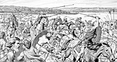 Caesar's army on a battle across the Thames, 54 BC