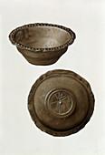 Christian monogram on base of pewter bowl from London