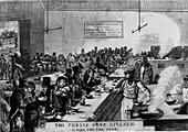Public soup kitchen, Marylebone Road, London, 1858