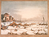 Frozen River Thames off Three Cranes Wharf, London, 1814