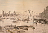 Charles Blondin crossing the Thames on a tightrope, London