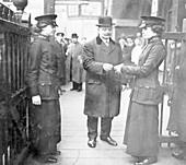 Women ticket collectors, London Bridge Station, London, 1915