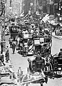 Horse buses in the Strand, City of Westminster, London