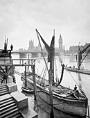 Houses of Parliament from the River Thames, London, c1920s