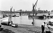 Lambeth Bridge and Palace from Millbank, Lambeth, London