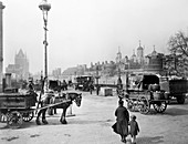 Carts outside the Tower of London, c1930