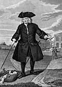 Thomas Coram outside the Foundling Hospital, London