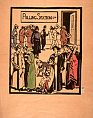 Polling station poster, c1910