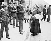 Mary Phillips selling Votes for Women in London, 1907
