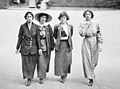 Four suffragettes exercising in the yard at Holloway Gaol