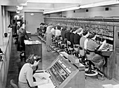 Telephone exchange at Cadley Hall, London, March 1951