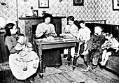 Making brushes at home, London, c1900