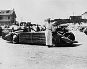 Henry Segrave with Golden Arrow, Daytona Beach, USA, 1929