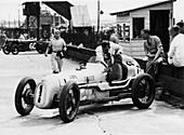Kay Petre and Austin Seven, Brooklands, 1936