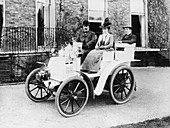 Frank Butler and daughter on a 6hp Panhard, 1900