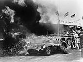 Aston Martin DBR1 on fire, Goodwood, Sussex, 1959