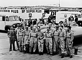 Donald Campbell and the Bluebird team, Goodwood, 1960