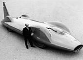 Leo Villa with the 1964 Bluebird