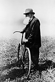 John Boyd Dunlop with bicycle, July 1918