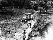 Lagonda towing a caravan