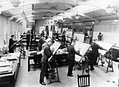 Draughtsmen in the drawing office, Vauxhall Motors, 1930