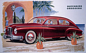 Poster advertising a Hotchkiss-Gregoire car, 1951