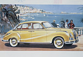 Poster advertising a BMW 502 car, 1957