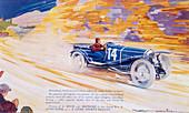 Poster advertising a Ballot 2 litre sports car