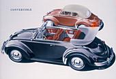 Poster advertising a Volkswagen Convertible, 1959