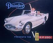 Poster advertising the Daimler V8 SP 250, 1959