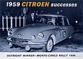 Advertising the Citroen Monte Carlo Rally winner, 1959