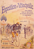 Poster advertising a bicycle exposition, 1892