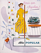 Poster advertising a Ford Popular car, 1955
