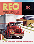 Poster advertising REO trucks, 1958