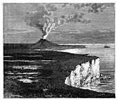A shield volcano on Reunion island, Indian Ocean, c1890