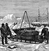 Preparing to start on a sledge trip in the Arctic, 1875