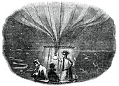 The Nassau balloon passing over Liege at night, 1836