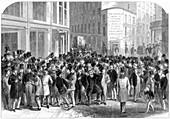 Kerbstone stockbrokers in New York, 1864