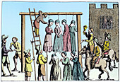 An execution of witches in England, 17th century