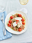 Monkfish in white wine with borlotti beans and tomatoes