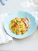 Linguine with pumpkin, roe and seared tuna