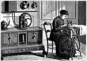 Domestic sewing machine powered by steam, 1883