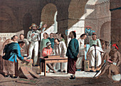 Sale of English goods in Canton, 1858